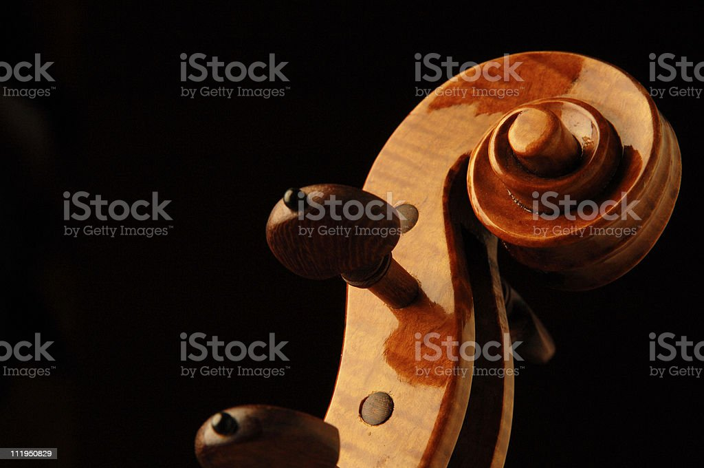 Elegant Violin Scroll and Rosewood Tuning Pegs on Black royalty-free stock photo