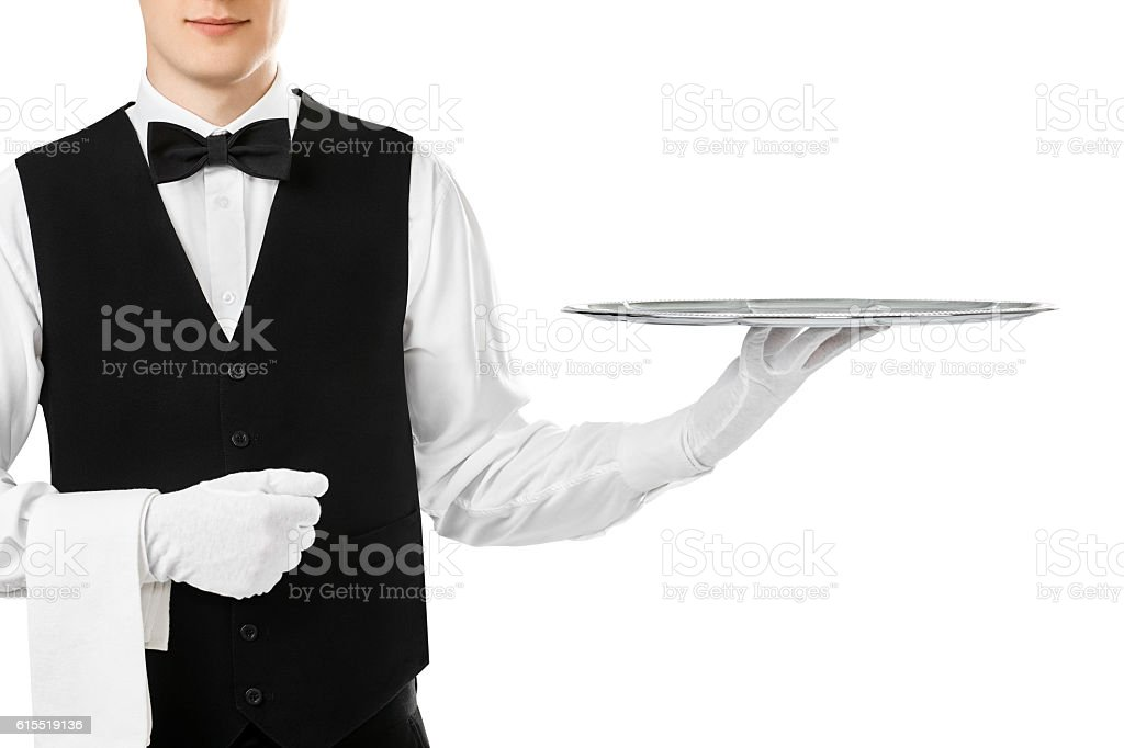Elegant waiter holding empty silver tray stock photo