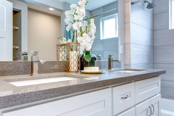 Elegant warm color bathroom design stock photo
