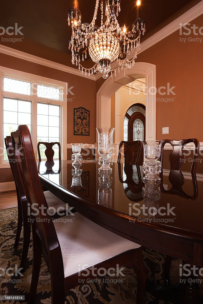 Elegant warm toned dining room.