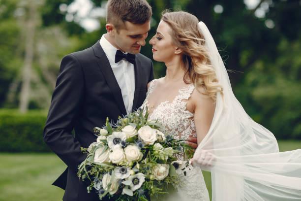 Elegant wedding couple stock photo