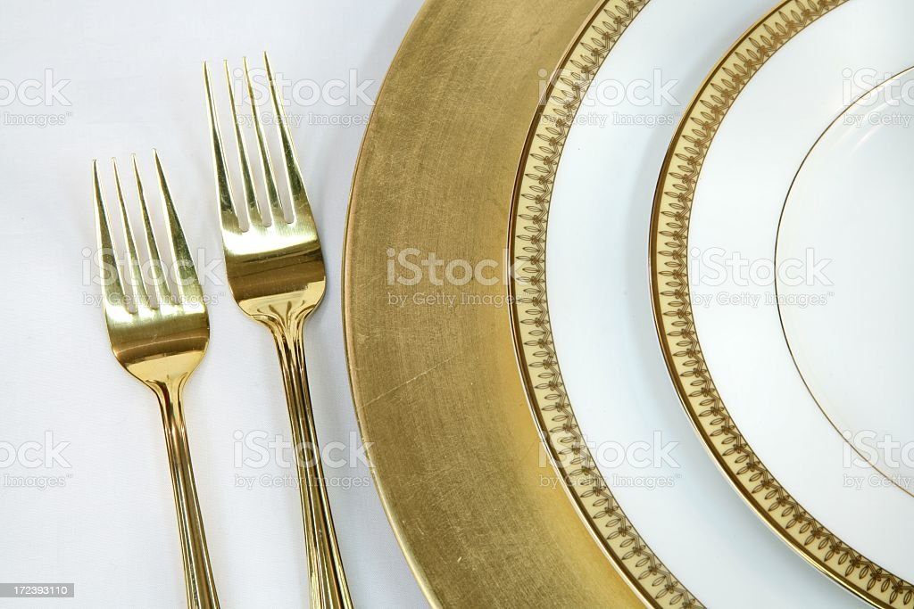Elegant white and Gold Place Setting 2 royalty-free stock photo