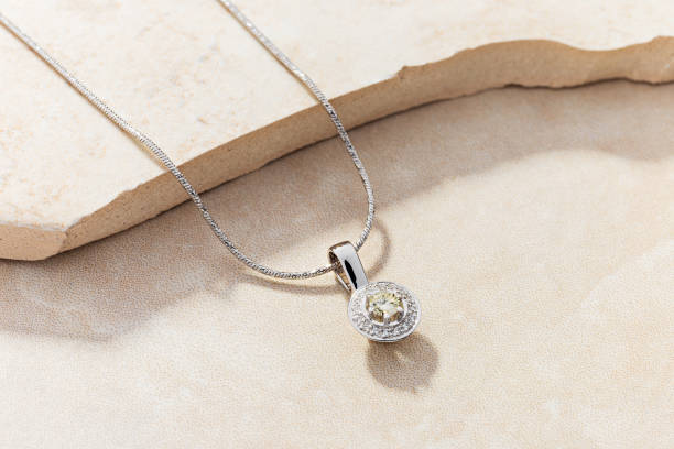 Elegant white gold necklace with diamonds stock photo