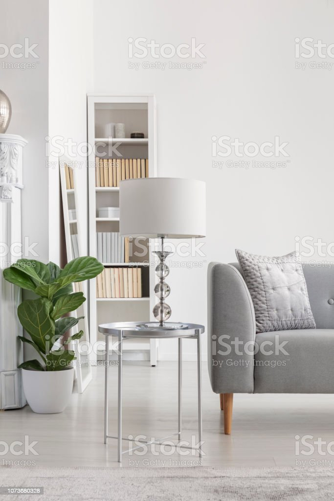 Peachy Elegant White Lamp On Small Silver Table Next To Grey Sofa Uwap Interior Chair Design Uwaporg