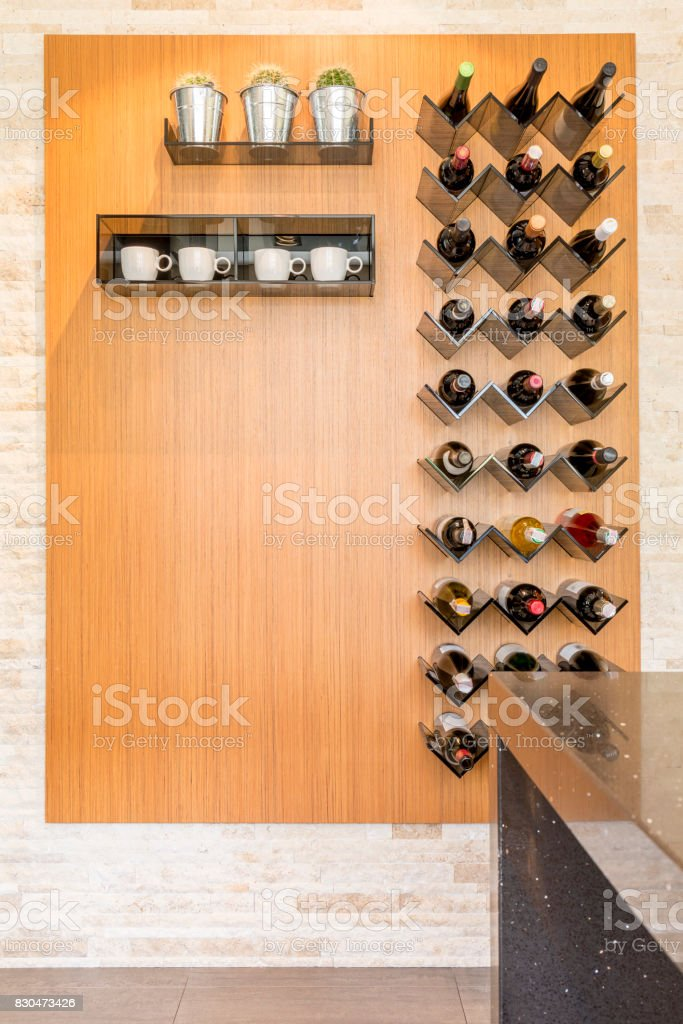 Elegant wine racks in kitchen stock photo