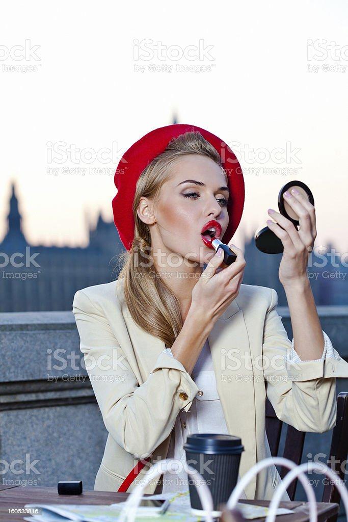 Elegant woman in London royalty-free stock photo