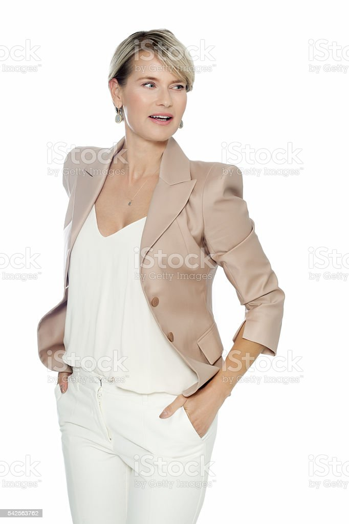 Elegant Woman In White stock photo