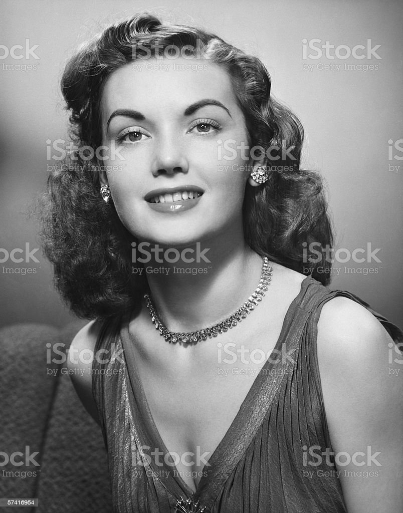 Elegant woman posing in studio, (B&W), (Close-up), (Portrait) royalty-free stock photo