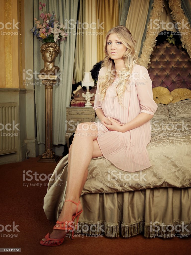 Elegant Woman, Victorian Room Interior stock photo