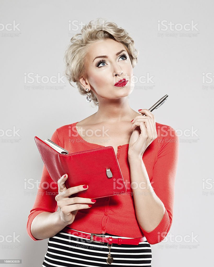 Elegant woman with calendar stock photo