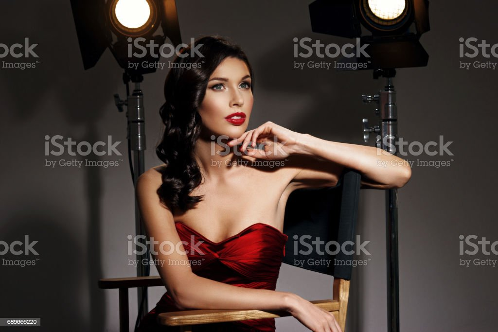 Elegant woman with classic hollywood wave stock photo