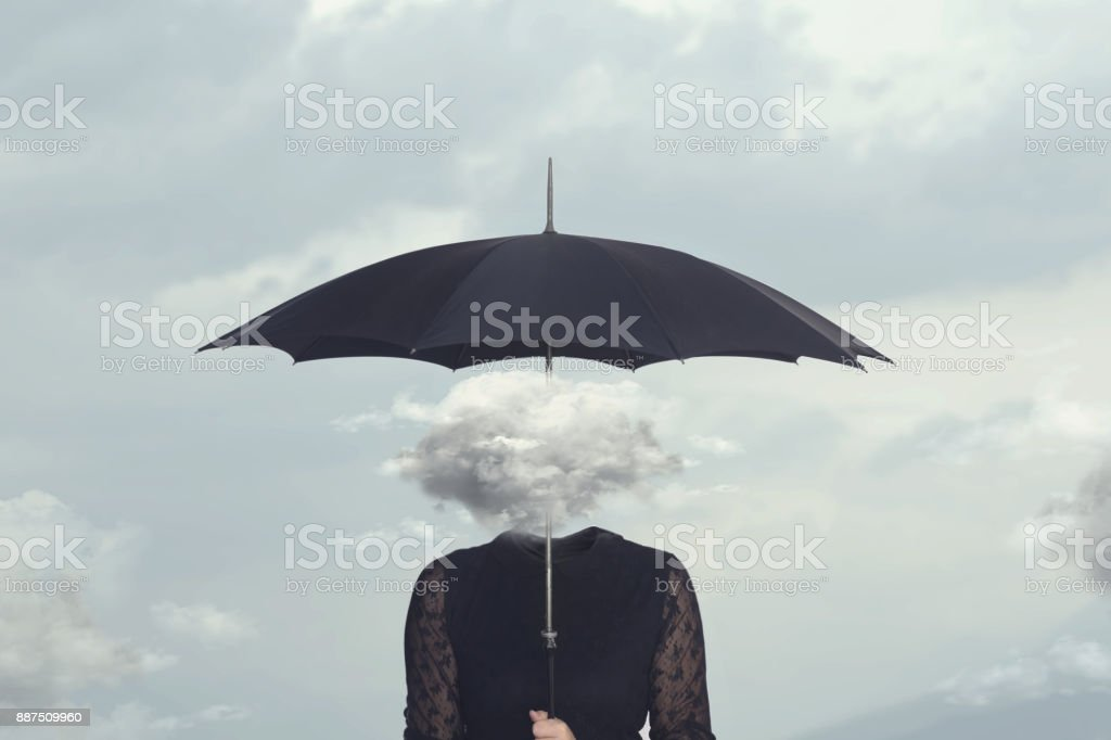 elegant woman with cloud head sheltering herself from the rain with umbrella stock photo