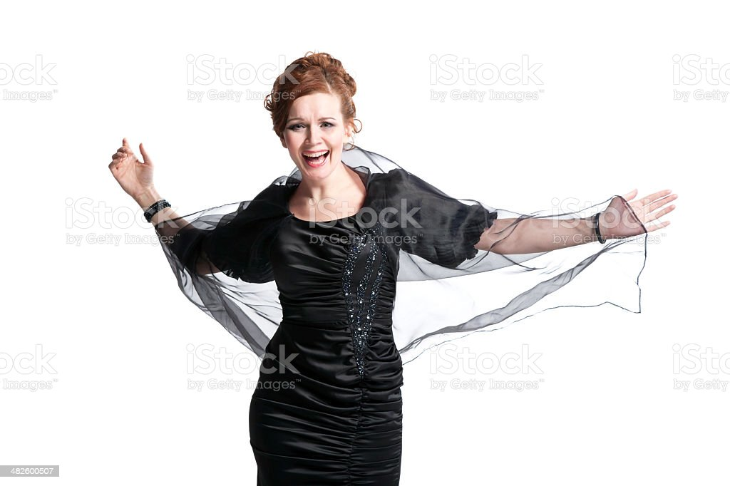 Elegant woman with shawl stock photo