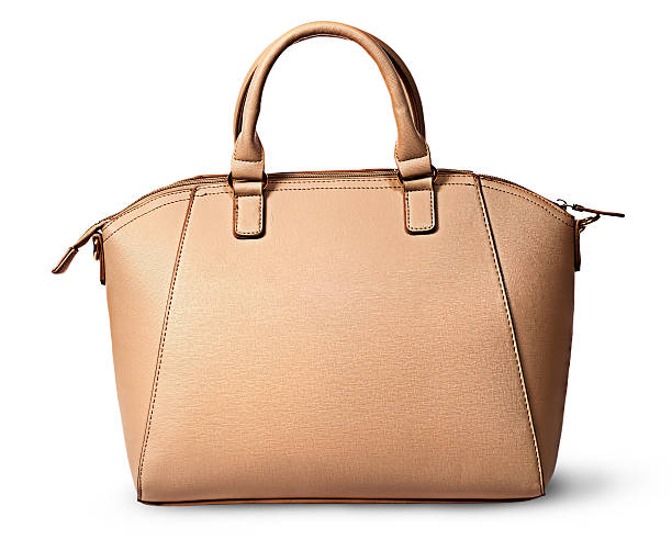 Elegant women beige bag rear view stock photo