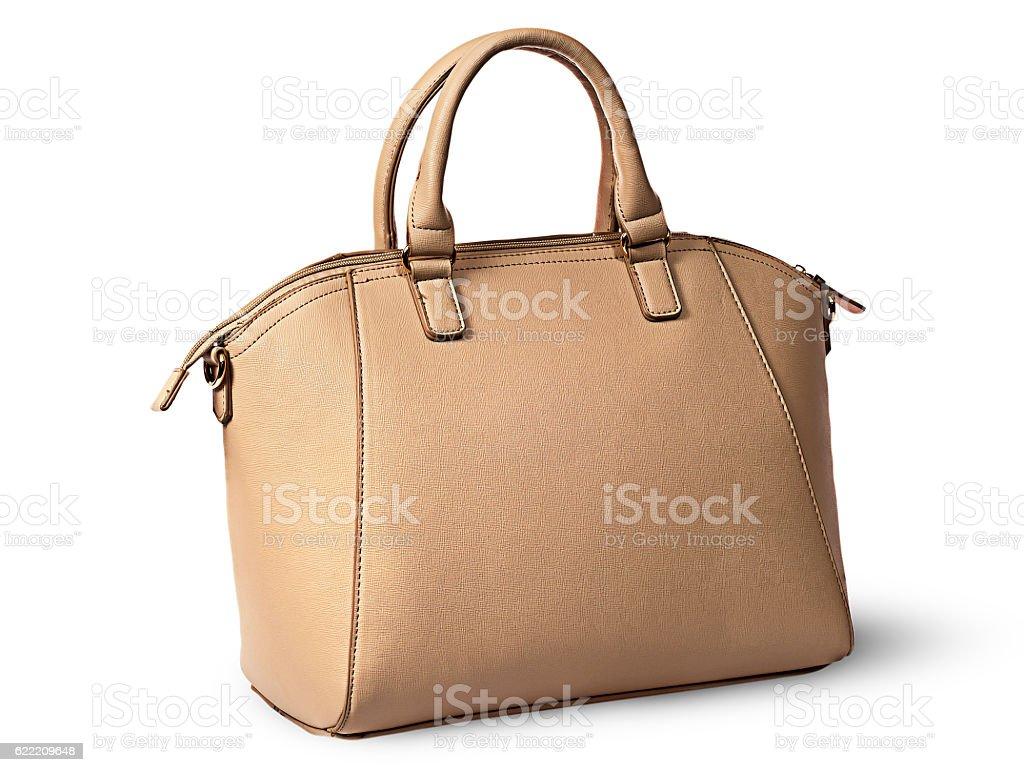 Elegant women beige handbag rotated rear view stock photo