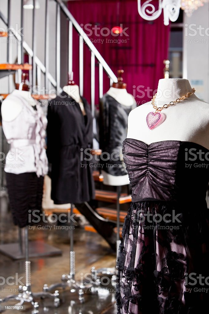 Elegant women's clothing on display in fashion boutique royalty-free stock photo