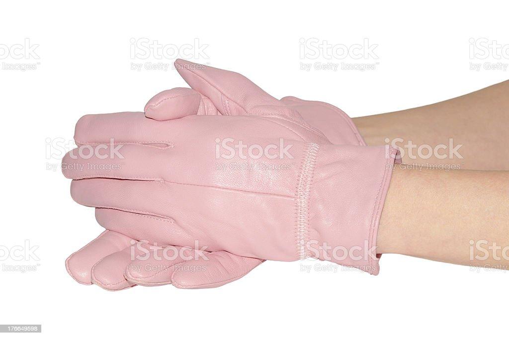 Elegant women's pink gloves on white royalty-free stock photo