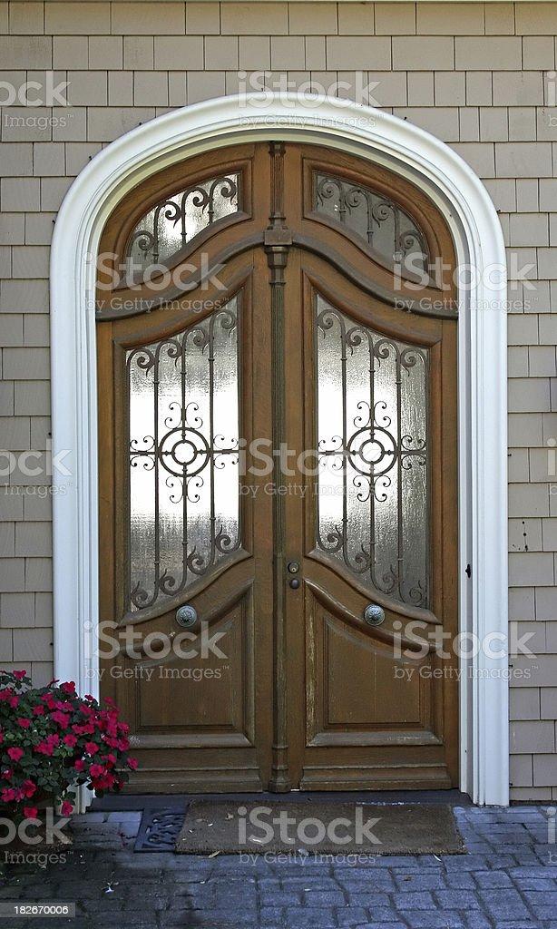 Elegant wood and iron entrance royalty-free stock photo