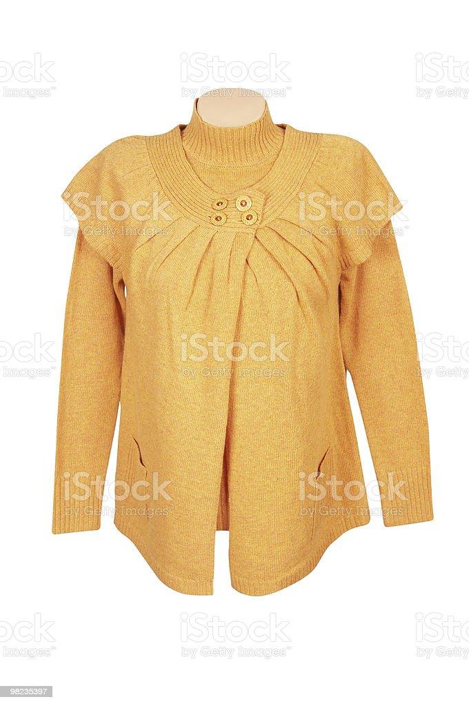 우아하다 노란색 튜닉과 전통 스웨터 흰색. royalty-free 스톡 사진