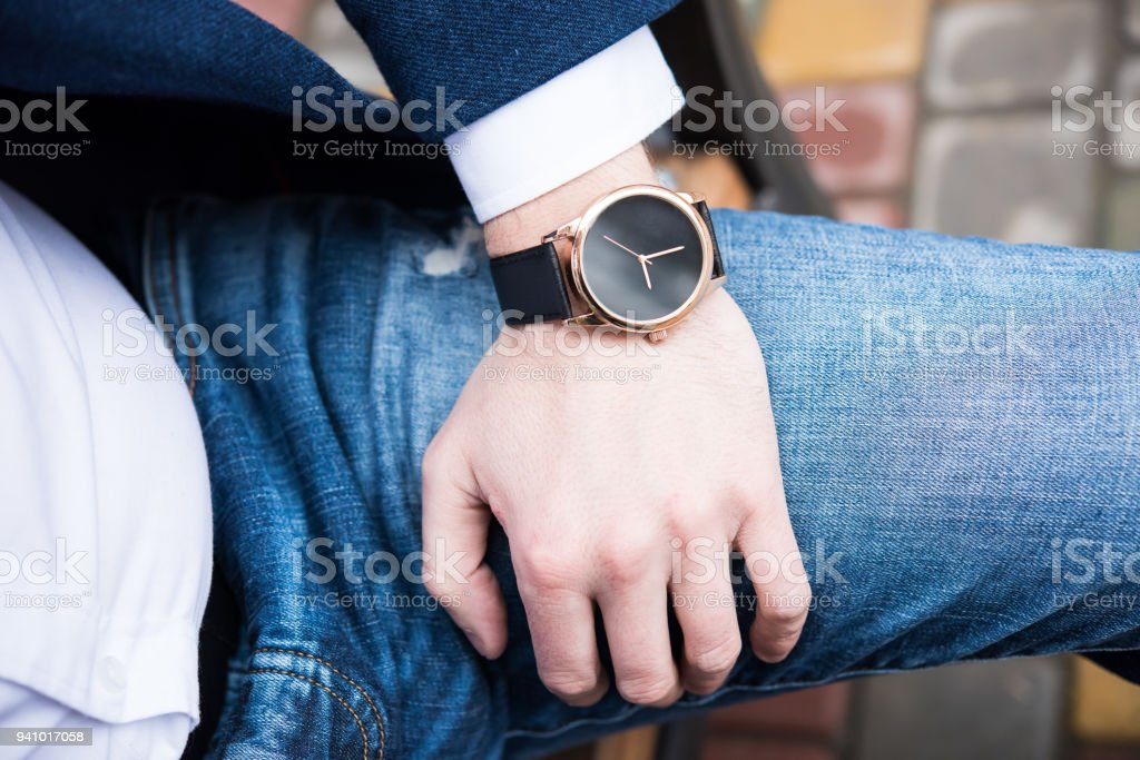 Elegant young business man's hand with fashion no brand wrist wa stock photo
