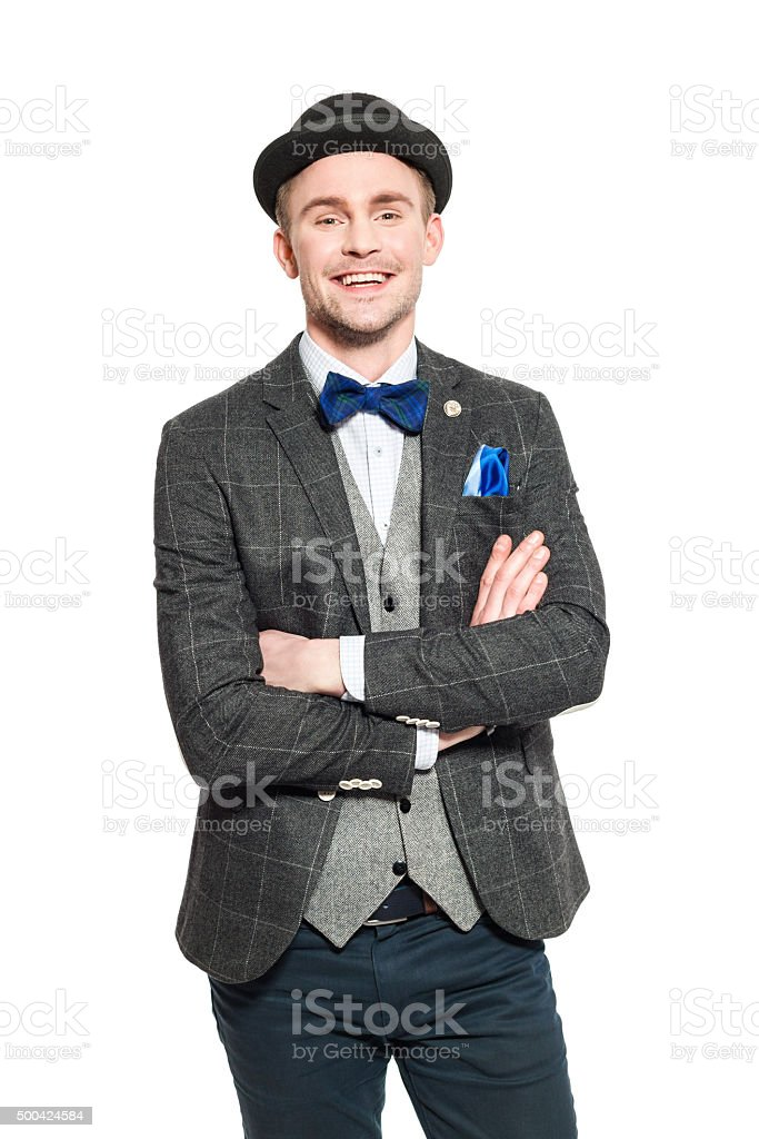 Elegant young businessman in retro style outfit stock photo