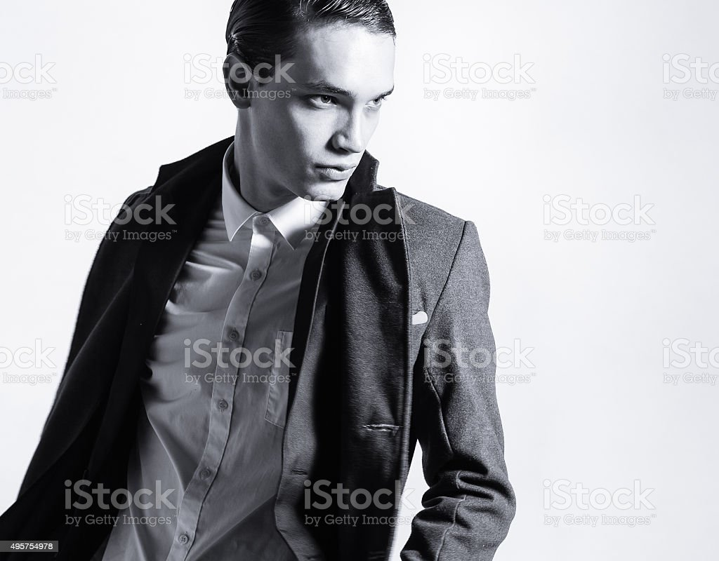 Elegant young handsome man stock photo