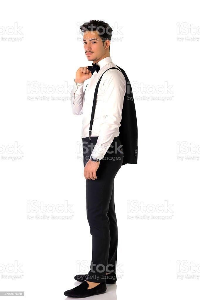 Elegante Junge Mann Mit Anzug Und Krawatte Fliege Volle Lange Stock