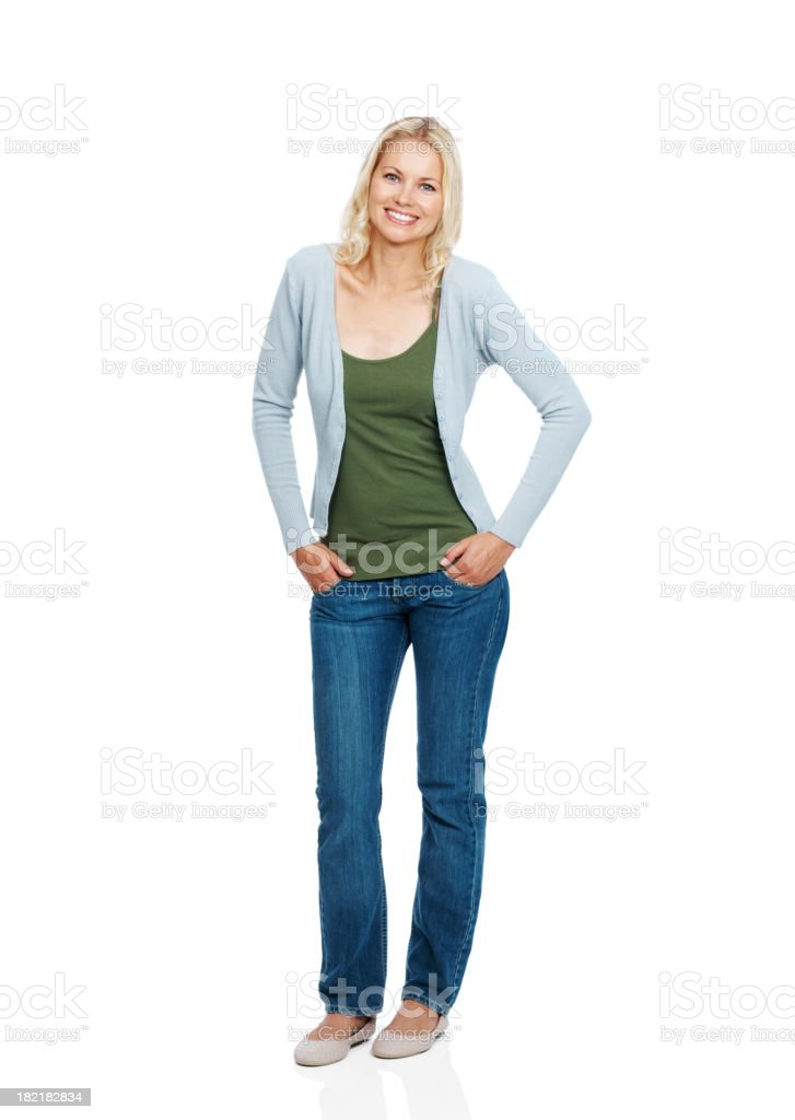 Élégante jeune femme posant sur fond blanc - Photo
