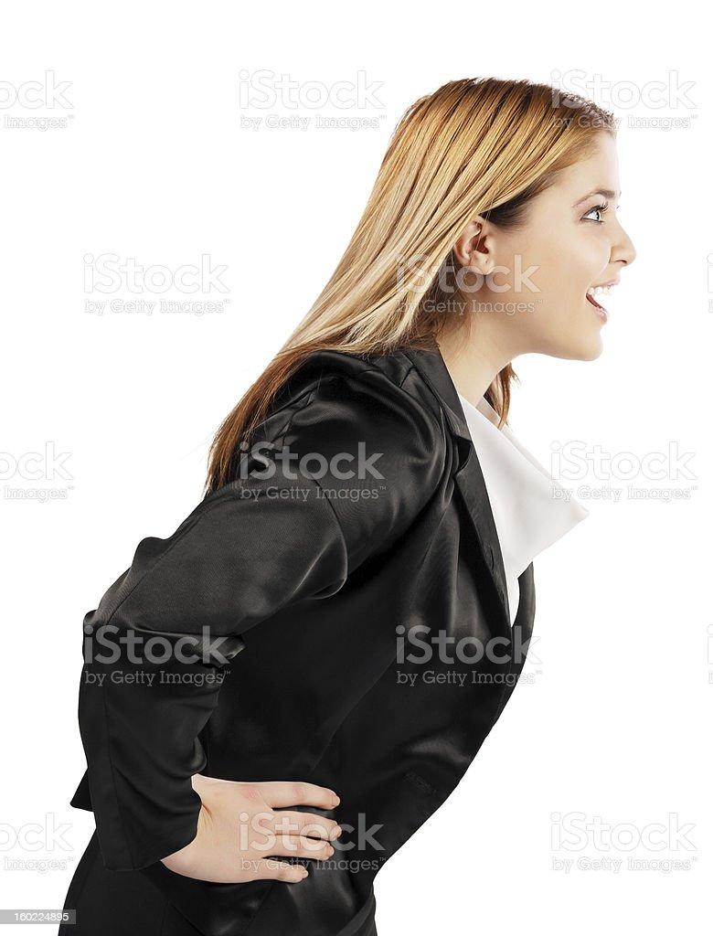 Elegante junge Frau im Profil position sprechen – Foto