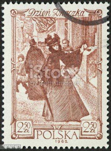 istock elegantly dressed 19th century woman on a Polish postage stamp 183828403