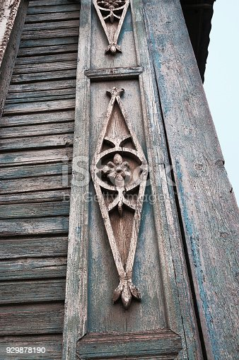 Element decoration of the facade of the old Russian wooden house of the period of the 19th century. Astrakhan city, Russia.