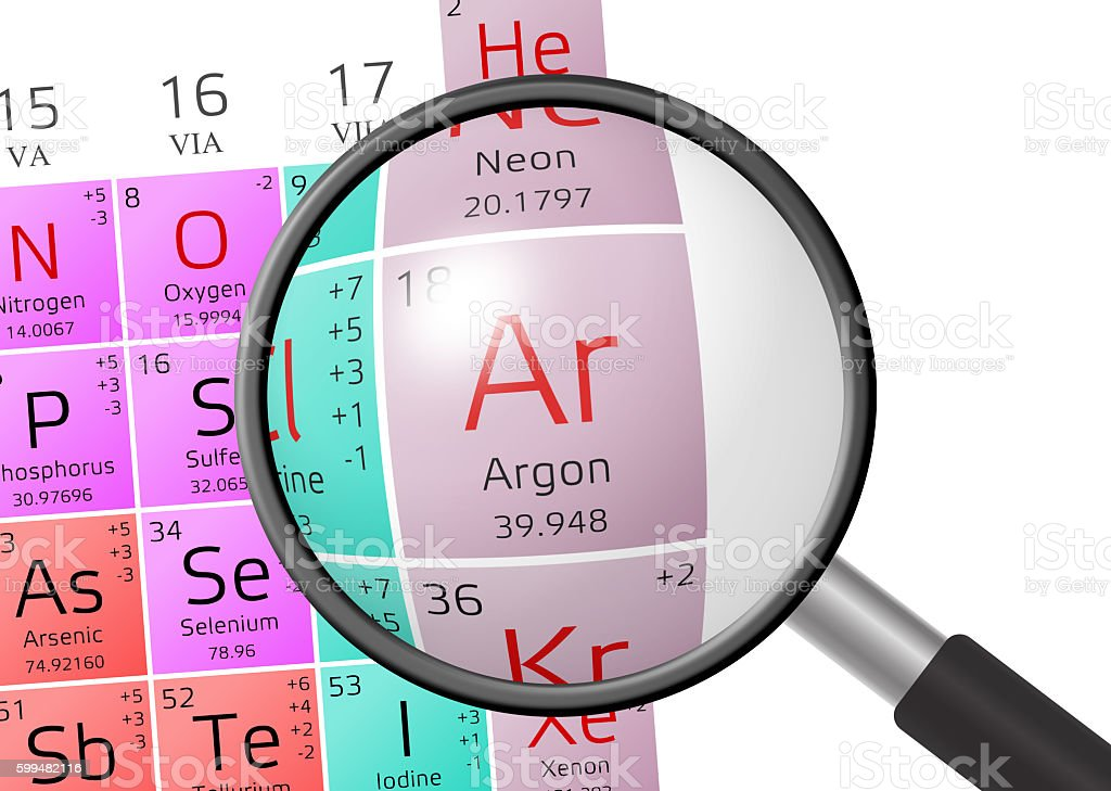 Element of Argon with magnifying glass stock photo