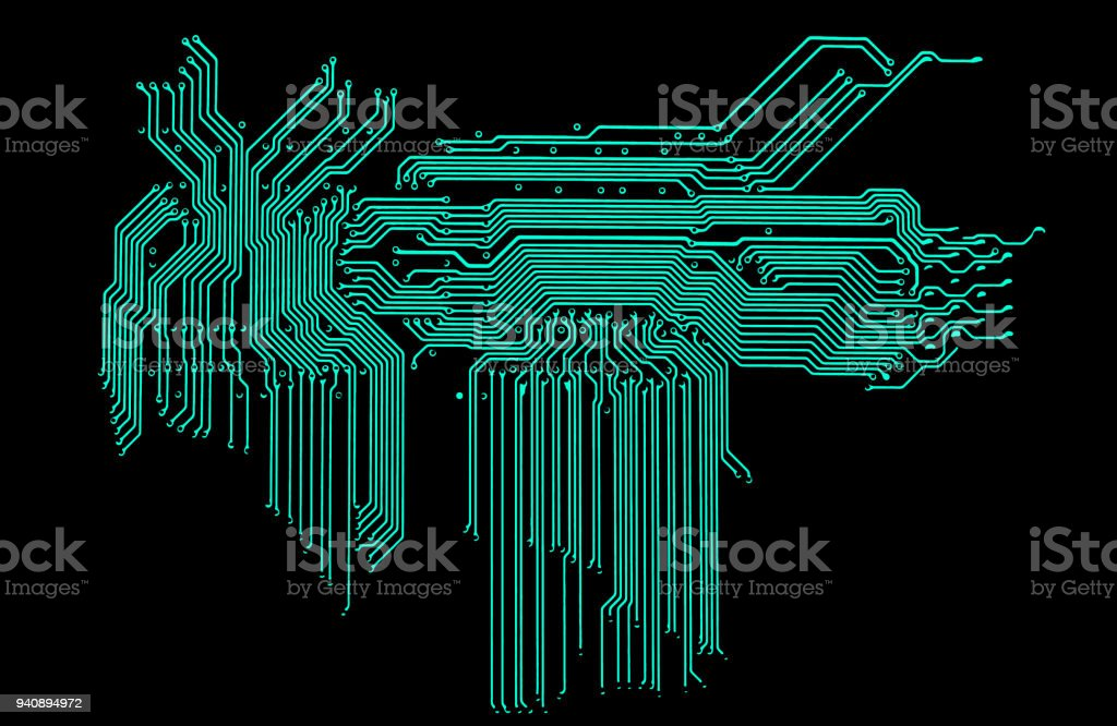 element of circuit board pattern isolated on white background stock photo