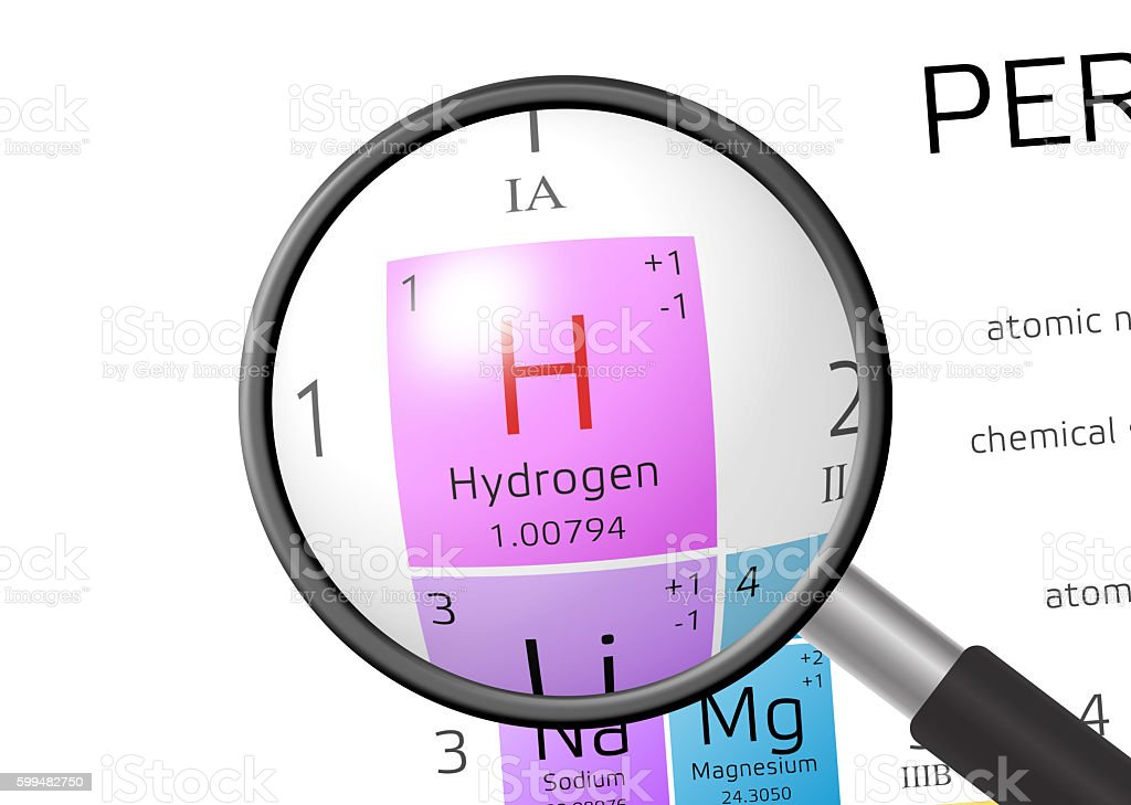 Element of Hydrogen with magnifying glass stock photo
