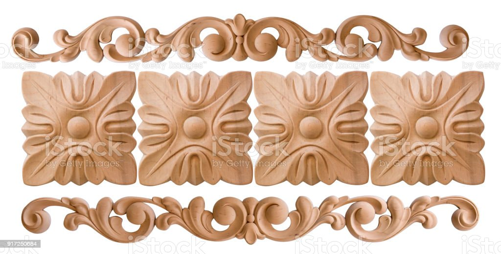 Element Woodcarving. Furniture In Classic Style. Luxury Furniture. Isolated  On The White Background