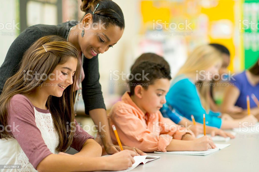 Elementary classroom stock photo