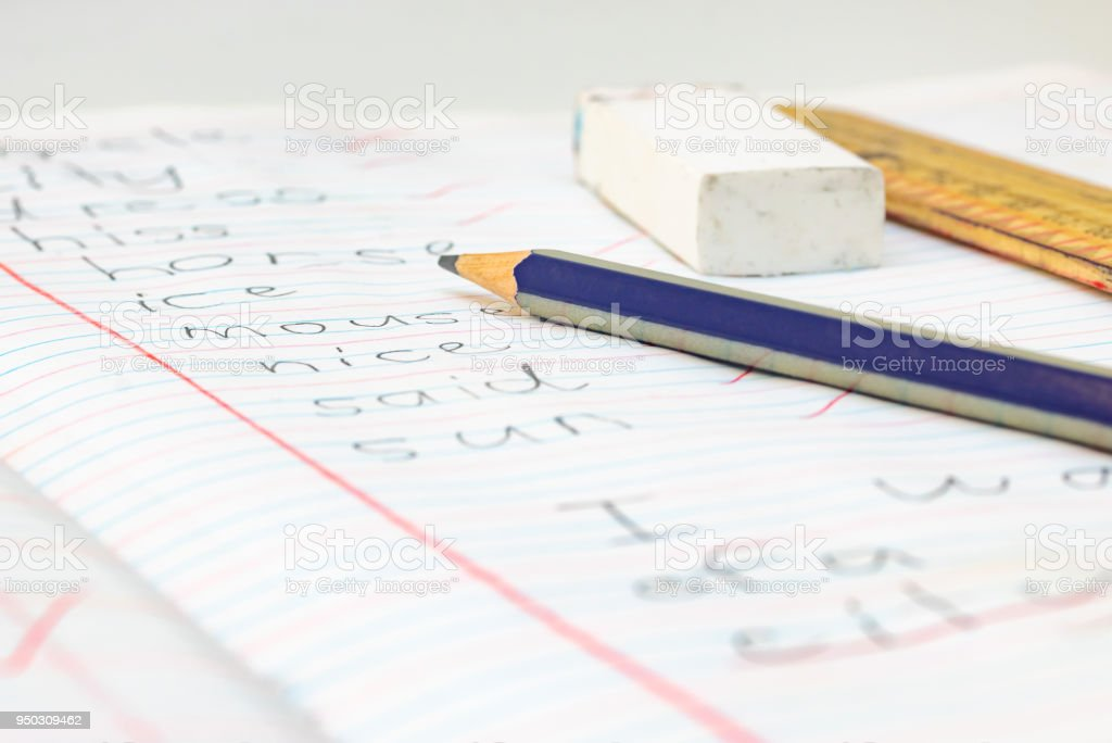 Elementary English Spelling Test And School Stationary Stock Photo