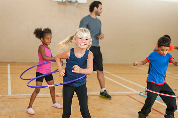 Elementary Gym Class stock photo