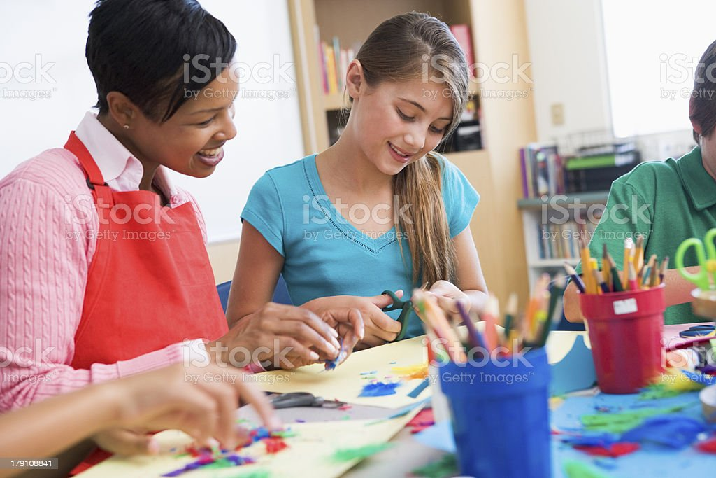 Elementary pupil in art class stock photo
