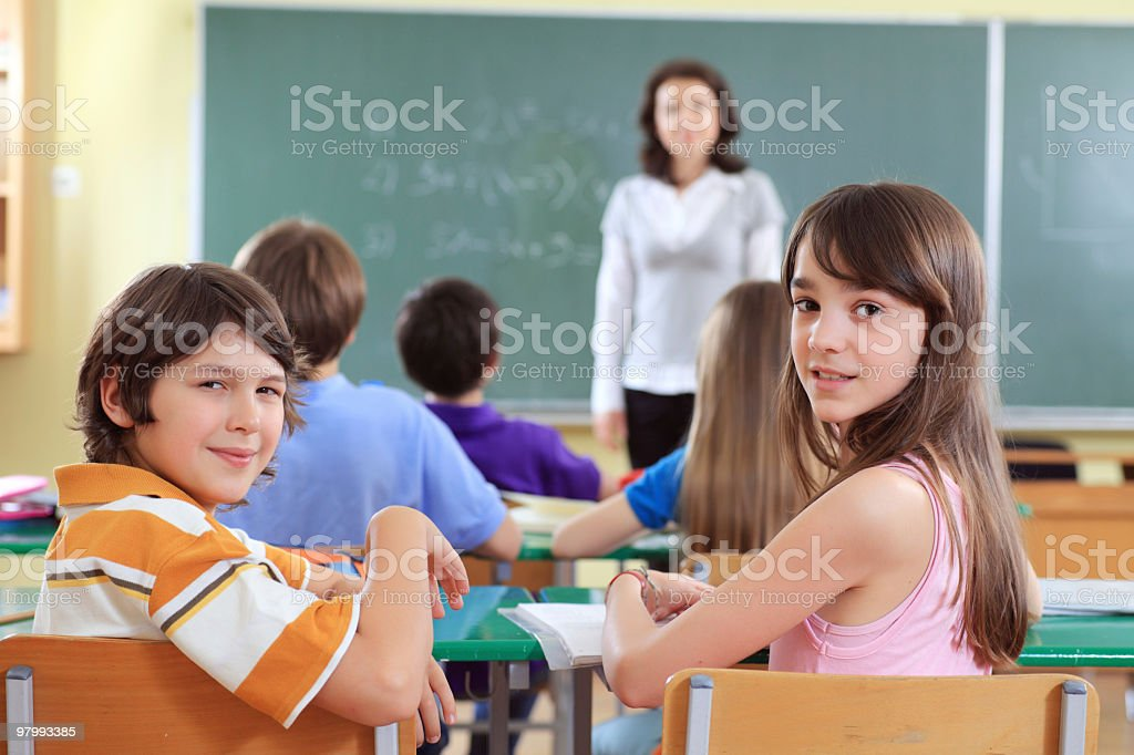 Elementary pupil on the lesson. royalty-free stock photo