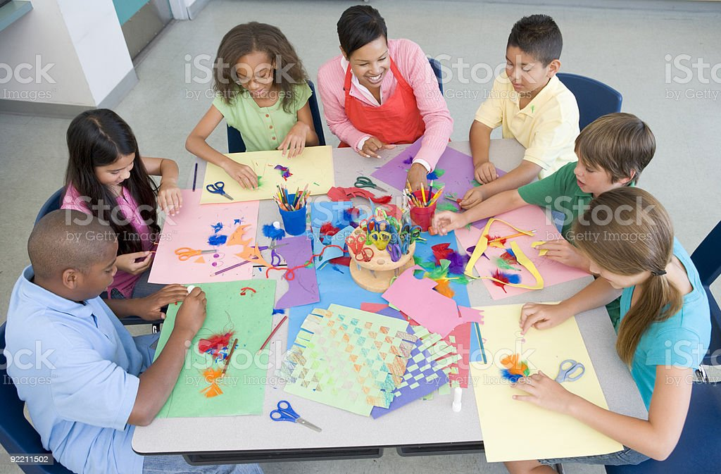 Elementary school art lesson royalty-free stock photo