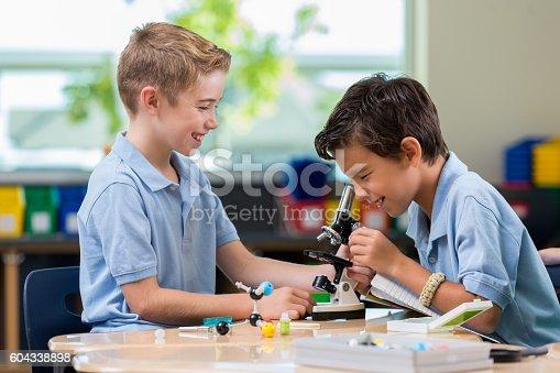 istock Elementary school boys work on science project 604338898