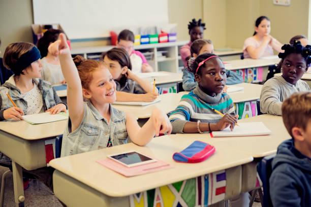 Grundschüler mit Klassenzimmer erhobenen Armen. – Foto
