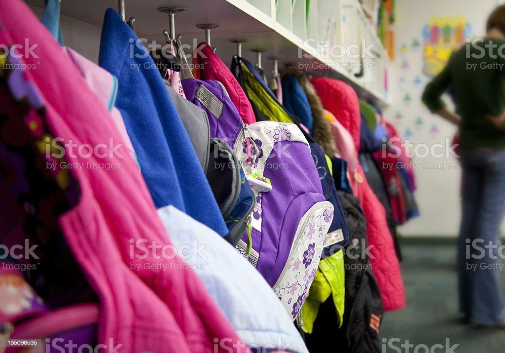 Elementary School Coat Rack: Backpacks stock photo