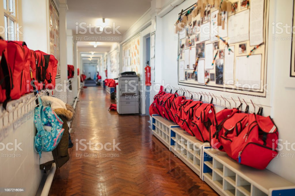 Elementary School Corridor stock photo