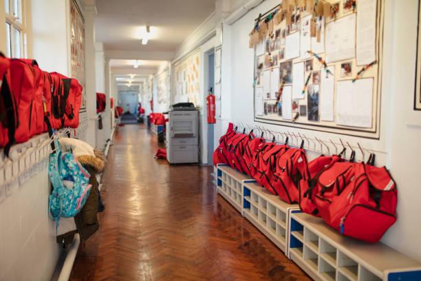 Elementary School Corridor stock photo