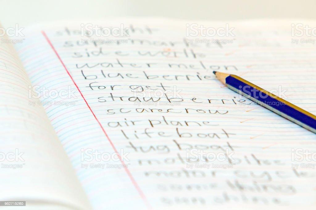 Elementary School English Spelling Test Stock Photo