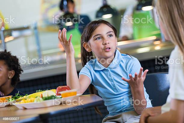 Elementary school girls talking during lunchtime in cafeteria picture id498400027?b=1&k=6&m=498400027&s=612x612&h=hvicdnrg7nn1vi nmrcjctrxghw6nvqklxf4gw59dxc=