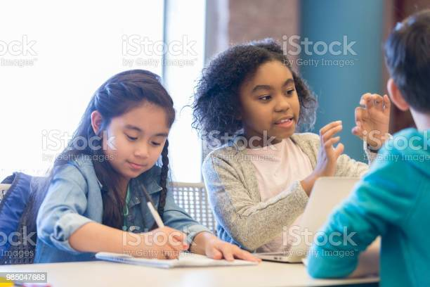 Elementary school girls work on class assignment picture id985047668?b=1&k=6&m=985047668&s=612x612&h=q6uzpveb ekueg7 jbm8jx7h0nscvojl9tbgzzadutq=