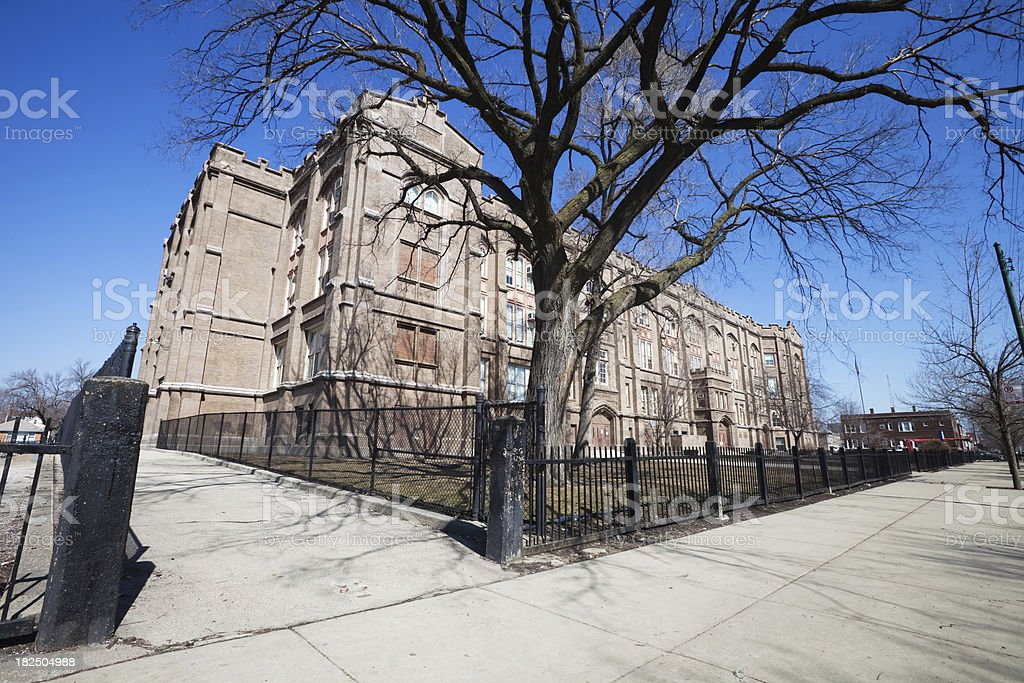 Elementary School in Brighton Park, Chicago royalty-free stock photo